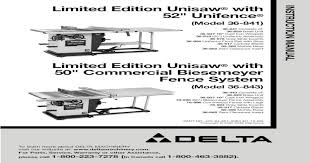 Limited Edition Unisaw With 50 Commercial Biesemeyer Fence 422 Additional Safety Rules For Pdf Document