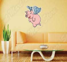 Flying Pig Butcher Meat Pork Bacon Boar Wall Sticker Room Interior Decor 18 X25 For Sale Online