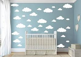 Amazon Com Cugbo 31pcs Big Clouds Vinyl Wall Decals Diy Wall Sticker Removable Wall Art Decor 4 10 Inch For Living Room Nursery Kids Room White Home Kitchen