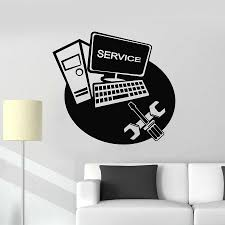 Computer Wall Decal Laptop Service Repair Technology Vinyl Window Stickers Repair Tools Art Mural Removable Interior Decor M330 Wall Stickers Aliexpress