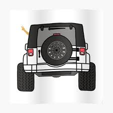 Jeep Wave Back View White Jeep Sticker By Indicap Redbubble