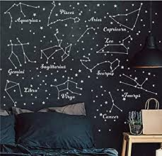 Amazon Com Constellation Wall Decal Twelve Constellations Stars Wall Stickers For Nursery Room Zodiac Astronomy Art Mural Kids Room Stars Decoration Am117 White Baby