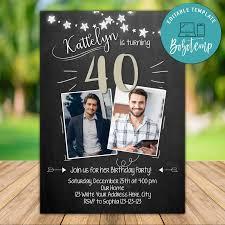 Invitacion De Foto De Cumpleanos 40 Para Hombre Adulto Imprimible