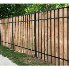 Slipfence Common 1 5 In X 3 In X 7 7 Ft Actual 1 5 In X 3 In X 7 7 Ft Vertical System Black Aluminum Wood Fence Rail Lowes Com In 2020 Wood Fence Fence Design Wood Privacy Fence