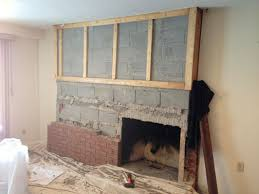 fireplace remodel replacing brick