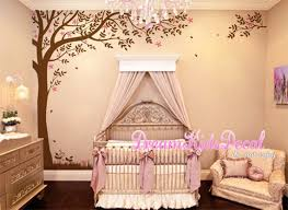 Corner Tree Wall Decal With Falling Leaves Baby Nursery Wall Etsy