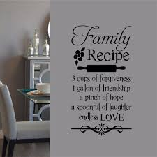 Farmhouse Kitchen Wall Decal Family Recipe Lettering Vinyl Wall Lettering Wall Quotes Decals Kitchen Wall Decals