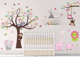 Amazon Com Dekosh Kids Pink Jungle Theme Peel Stick Girl Nursery Wall Decal Colorful Owl Giraffe Lion Tree Decorative Sticker For Baby Bedroom Playroom Mural Kitchen Dining