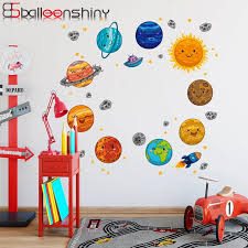 Balleenshiny Pvc Cartoon Space Planet Wallpaper For Kids Room Solar System Earth Children Nursery Mural Decals Background Decor Wall Stickers Aliexpress