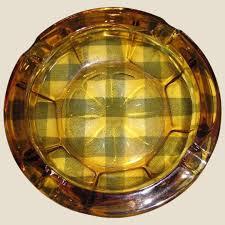 amber glass cigar cigarette ashtray