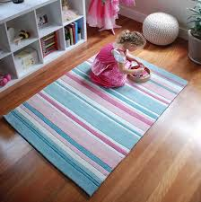 Aqua And Pink Striped Kids Rug Perfect Rug To Soften Up A Baby S Nursery Girl S Bedroom Or Playroom Kids Rugs Childrens Rugs Pink Nursery Rug