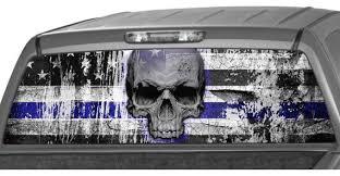 American Flag Punisher Skull B W Police Thin Blue Line Rear Etsy
