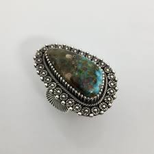 Turquoise and Silver Ring, by Ivan Howard – Raven Makes Gallery
