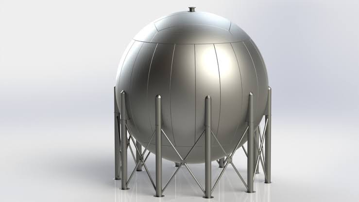sphere tank in legs structure