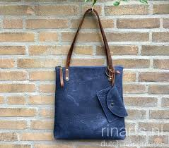 denim blue leather tote