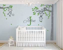 Corner Tree Monkey Wall Decal With Customized Name Vinyl Blossom Tree Wall Decal And Blossom Tree