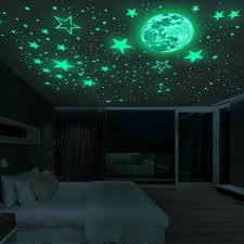 Luminous Moon And Stars Wall Stickers For Kids Room Baby Nursery Home Decoration Wall Decals Glow Wallpaper Decals Stickers Wallpaper Sticker From Trsunrise 17 34 Dhgate Com