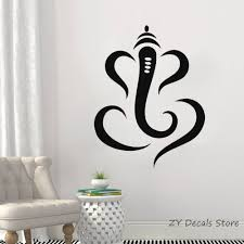 Hindu Ganesha Lord Vinyl Wall Decal Simple Indian Elephant Wall Sticker Home Interior Bedroom Decor Asia India Wall Design S705 Vinyl Wall Wall Designsdesigner Wall Stickers Aliexpress