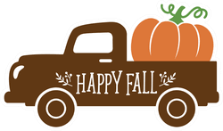 Old Vintage Truck With Harvest Pumpkin Fall Sticker