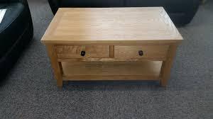 oak coffee table 2 storage drawers