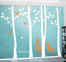 White On Blue Tree Decals Birch Tree Nursery Tree Wall Decal Kids Wall Decals