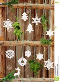 Christmas Decorations On A Wooden Fence Stock Image Image Of Front Trees 79232901
