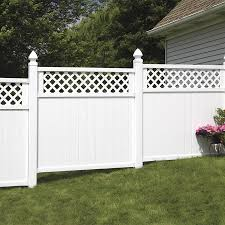 Freedom Pre Assembled Wellington 6 Ft H X 6 Ft W White Vinyl Lattice Top Fence Panel In The Vinyl Fence Panels Department At Lowes Com