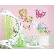Butterflies Flowers Wall Decals Girls Butterfly Room Stickers Baby Decor New For Sale Online