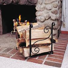 wrought iron fireplace log holder scroll
