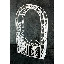 Garden Furniture White Wrought Iron Arbour Arch With Gates Town Square Miniatures Melody Jane Doll Houses