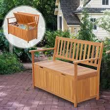 wooden outdoor storage bench patio