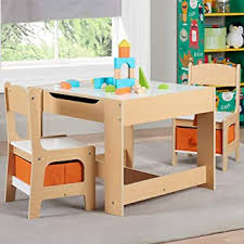 Amazon Com Unique Sturdy Smartly Crafted Kids Wooden Storage Table And Chairs Set Whiteboard On One Side Flips Over To Reveal A Chalkboard Ideal For Classrooms Art Rooms Kids Room And Playrooms Natural Furniture Decor