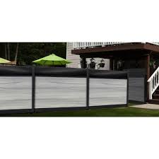 Veranda Euro Style 6 Ft H X 6 Ft W Acrylic Top Oxford Grey Aluminum Composite Horizontal Fence Section Panel Ef 04400 The Home Depot