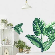 Amazon Com Diy Green Plants Fresh Leaves Wall Decals Kaimaic Nursery Decor Plant Leaf Wall Stickers Tropical Home Decal Murals Paper Decoration For Bedroom Living Room Office Bathroom Wall Corner Kitchen
