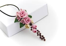 pink flower rose necklace jewelry