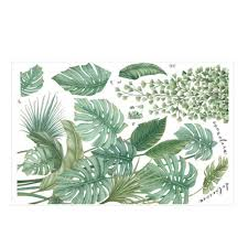 Tropical Leaves Green Plant Wall Stickers Vinyl Decal Living Room Art Mural Sale Banggood Com