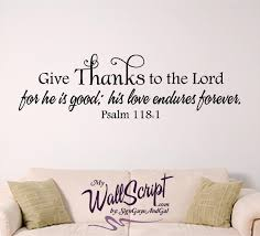 Give Thanks Wall Decal Home Wall Decal Bible Verse Wall Art