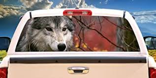 Amazon Com Signmission Gray Wolf Rear Window Graphic Decal Tint Truck Wolves View Thru Vinyl Home Kitchen