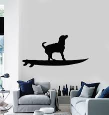 Vinyl Wall Decal Surfer Dog Surfboard Surfing Beach Decoration Sticker Wallstickers4you