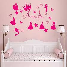 Princess Room Personalised Name Decoration Wall Sticker Cinderela Rapunzel Girl Wall Decals Baby Girls Bedroom Customized G1004 Aliexpress