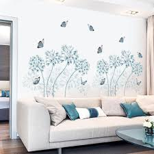 Blue Dandelion Home Decor Plant Decal Butterfly House Wallpaper Nursery Removable Vinyl Wall Sticker Living Room Girls Thefuns On Artfire