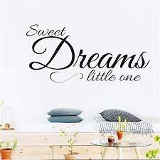 Amazon Com Qoers Vinyl Wall Statement Family Diy Decor Art Stickers Home Decor Wall Art Sweet Dreams Little One For Nursery Kids Room Boys Girls Room Home Kitchen