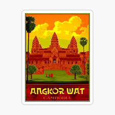 Angkor Wat Vintage Cambodia Temple Print Sticker By Posterbobs Redbubble