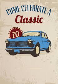 Car Classic 70th Birthday Free Printable Birthday Invitatio