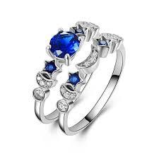 trendy sapphire star moon ring set