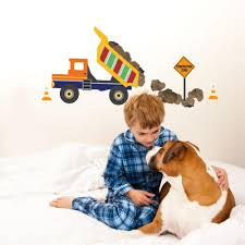 Large Dump Truck And Construction Sign Wall Decals Eco Friendly Wall