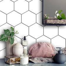 Removable Vinyl Wall Decal Hexagonal Tile Pattern In Pure White Vinyl Wallpaper Bathroom Splashback Removable Vinyl Wall Decals