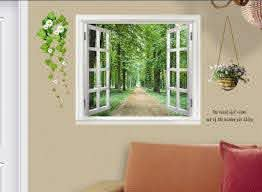 Tree Wall Decal Wall Sticker Home Decoration Living Room Sticker Green Fake Window Stickers 60 90cm Sticker Computer Stickers Stationarysticker Decal Paper Aliexpress