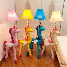Bell Floor Lamp With Cute Unicorn Base Colorful Baby Kids Room Fabric Shade 1 Bulb Floor Light Beautifulhalo Com