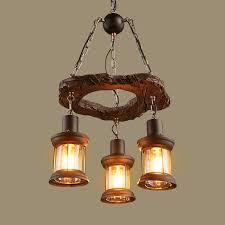 rustic wood 3 heads chandelier ceiling